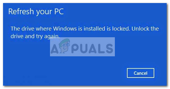 The Drive where Windows is installed is locked Windows 10