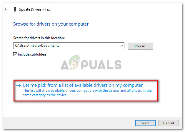 Click on Let me pick from a list of available drivers on my computer
