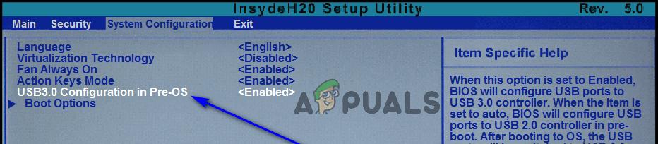USB 3.0 Configuration in Pre-OS setting in bios