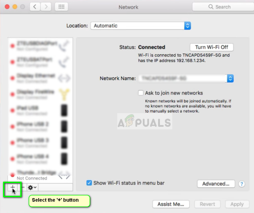 Adding a network - Network settings
