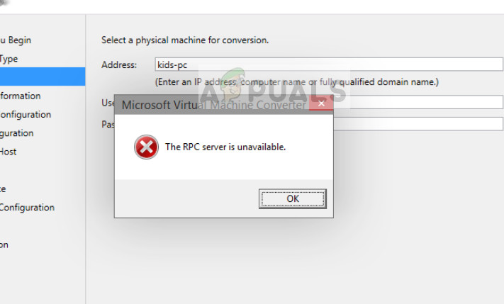 The RPC Server is Unavailable