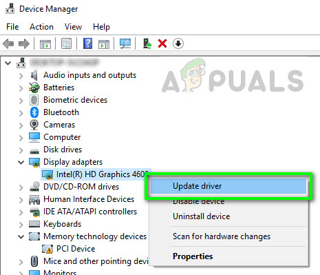 Updating graphics hardware - Device manager