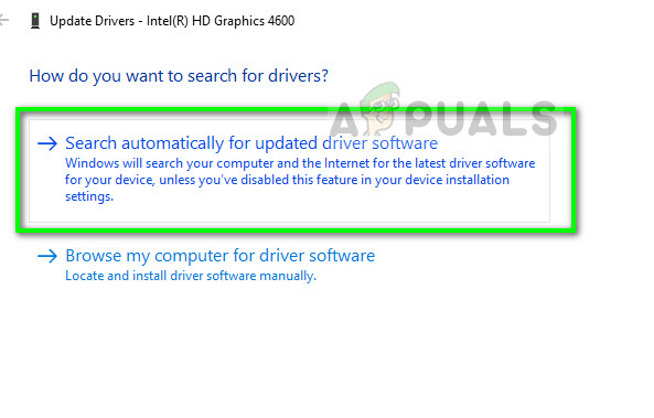 Updating driver automatically - Device manager on Windows 10