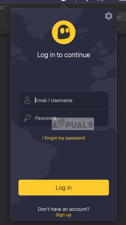 Logging into CyberGhost