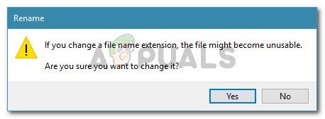 Confirm the change of the extension type