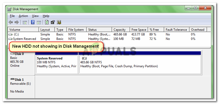 New HDD is not showing inside Disk Management