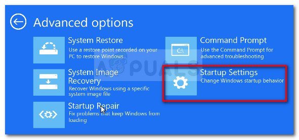 In the Advanced Options menu, click on Startup Settings