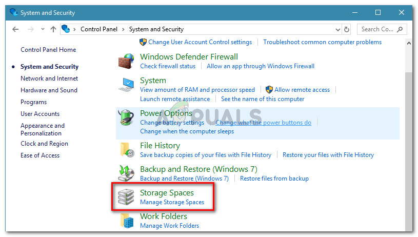 go to System and Security, then click on Storage Spaces