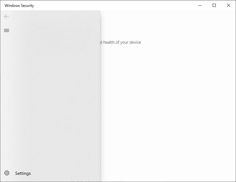 Windows 10 1909 Security app bug