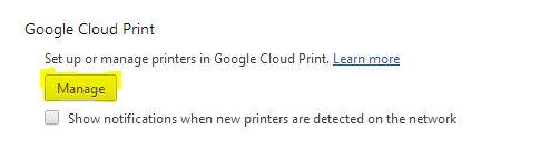 Google Cloud Print Manage