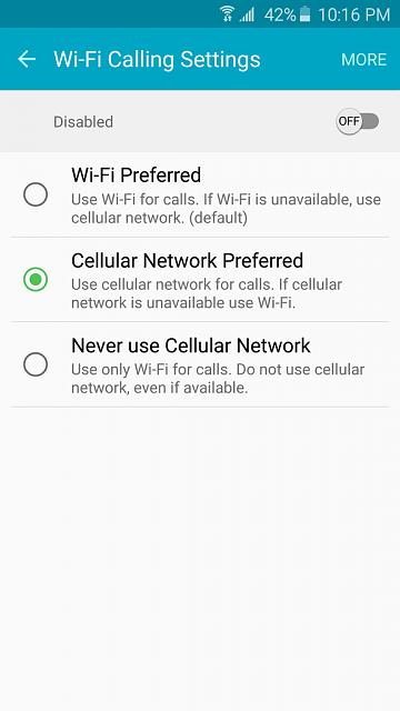 paramètres d'appel wifi