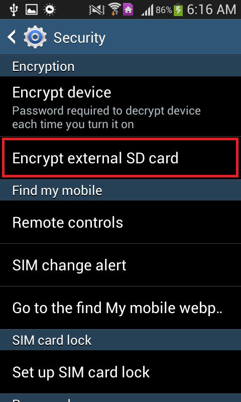 encrypt external sd card