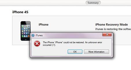 iphone unknown error 1