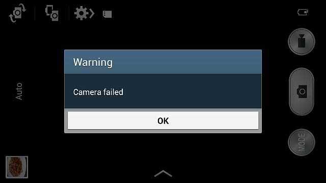 la caméra d'avertissement a échoué