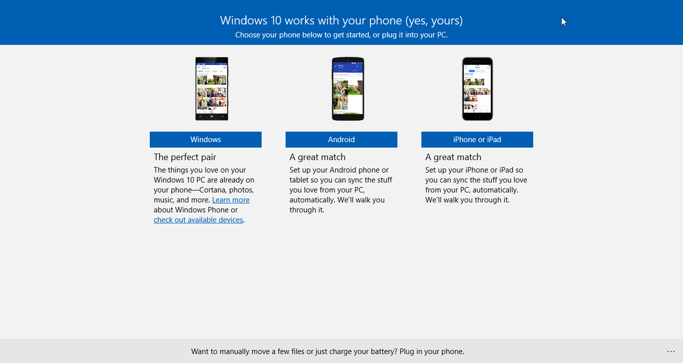 windows 10 sync  android