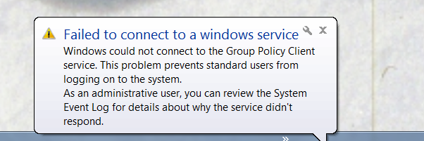 Failed to connect to Windows service