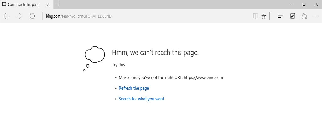 Fix: Edge responds 'we can't reach this page'