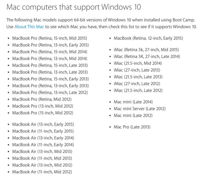 Mac-Computer, die Windows 10 unterstützen