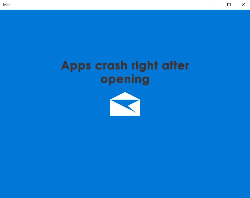 mail and calendar app crashes