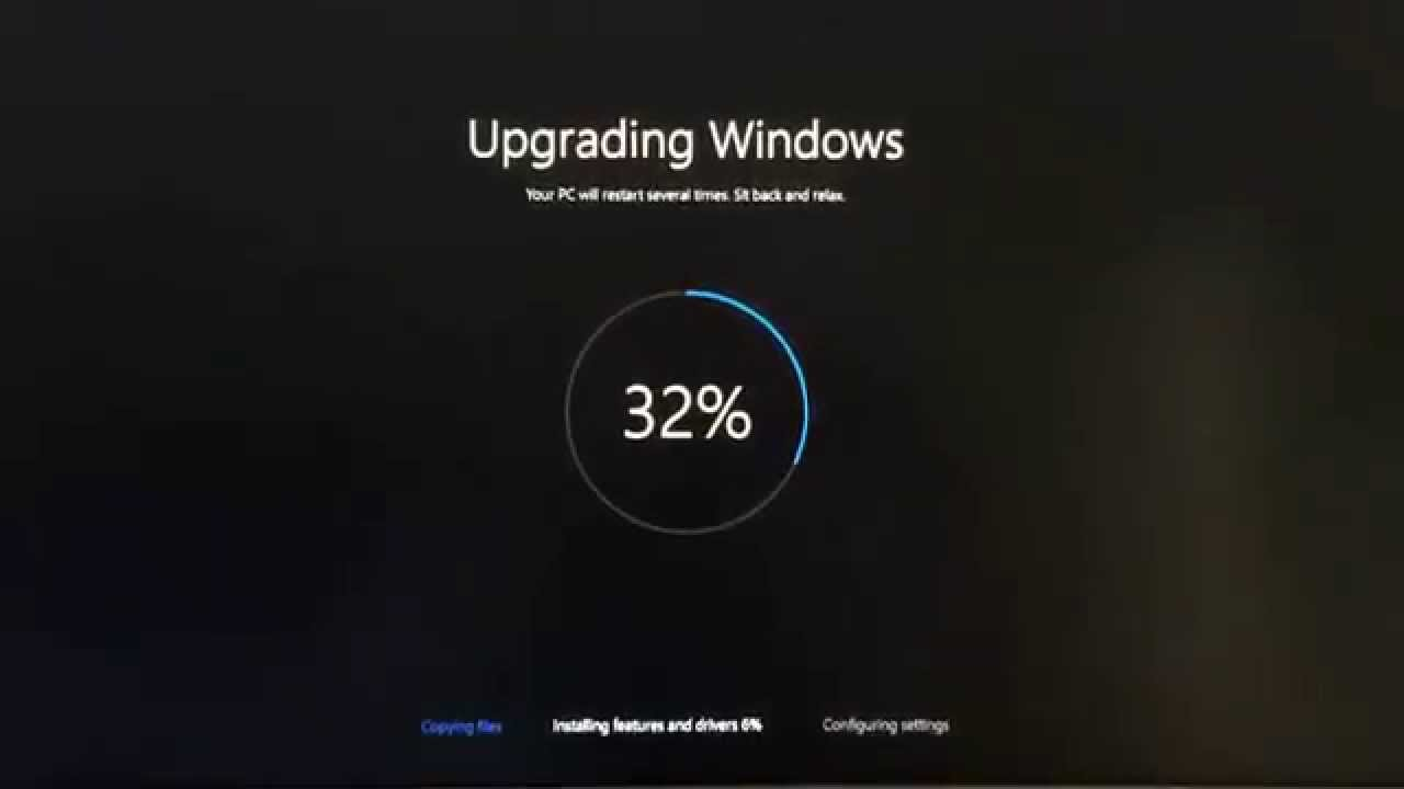 windows 10 update stuck at 32