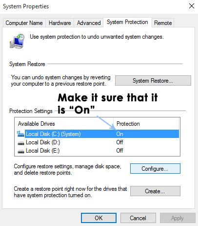 restauration du système dans Windows 10-2
