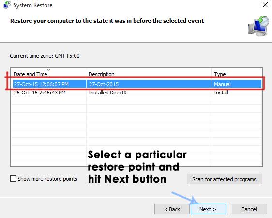 restauration du système dans Windows 10-8