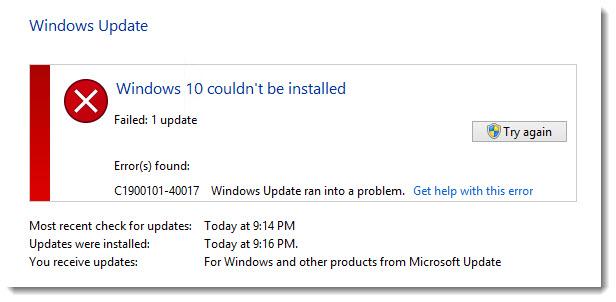Windows 10 Couldnt be installed Error C1900101-40017