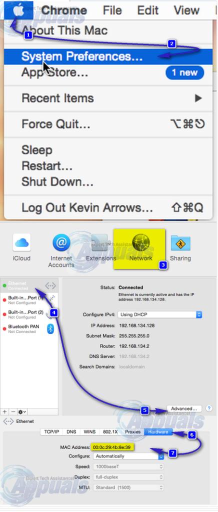 lookup mac address on mac os x