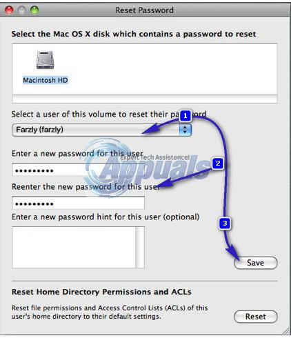 reset password os x