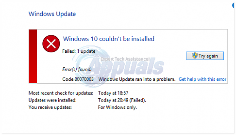 windows 10 couldnt be installed