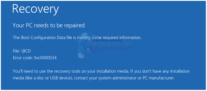 boot configuration data file is missing