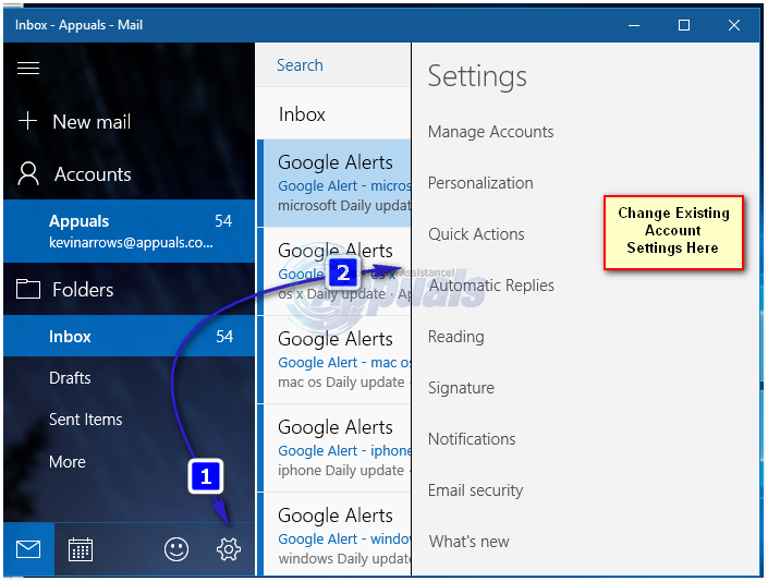 windows 10 mail app settings
