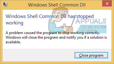 Windows Shell Common DLL has stopped working