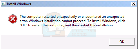 the Computer Restarted unexpectedly or encountered an unexpected error