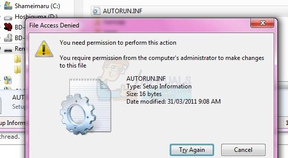 access denied to autorun inf