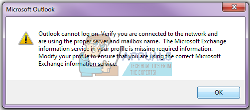 Fix: Outlook cannot log on  Verify you are connected to the network