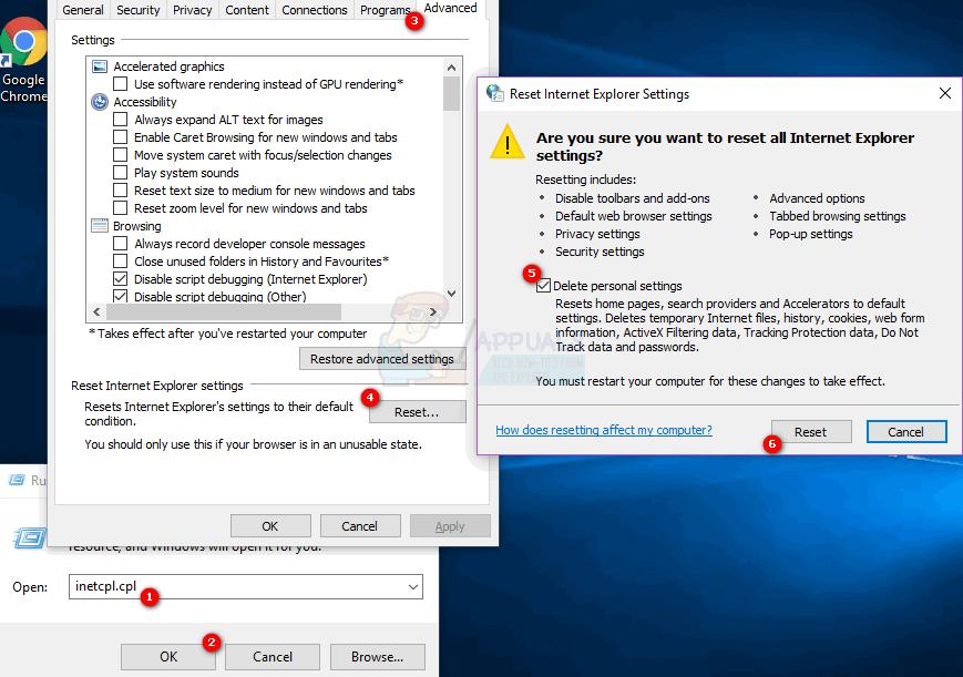 Resetting Internet Explorer Settings