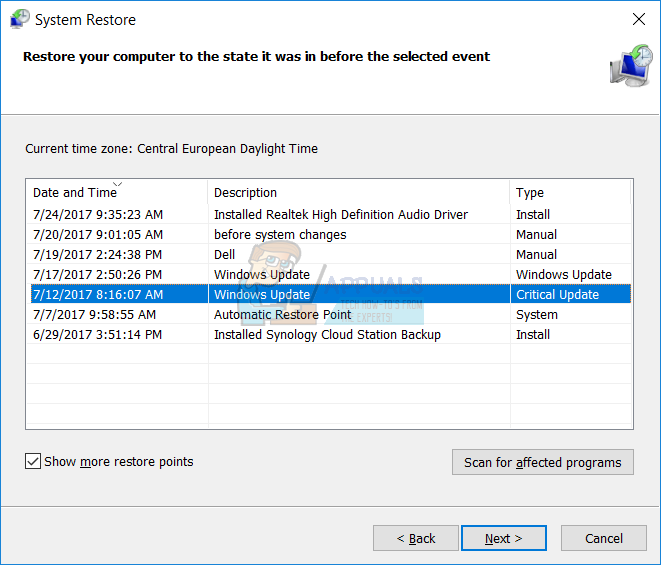 Choosing a system restore point from the list