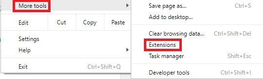 go to More Tools > Extensions