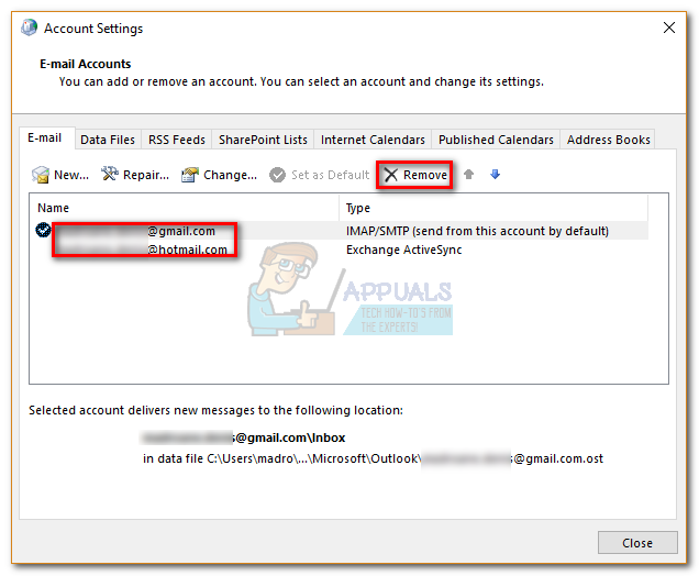 how to close an outlook account 2017
