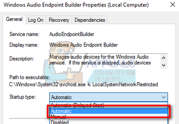windows sound service stopped