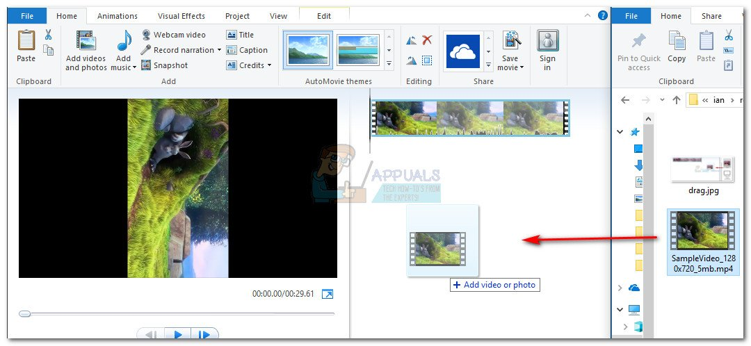 How to rotate a video for windows media player appuals once movie maker is installed successfully go ahead and start it first things first drag the video that needs rotating in the movie maker window to ccuart Images