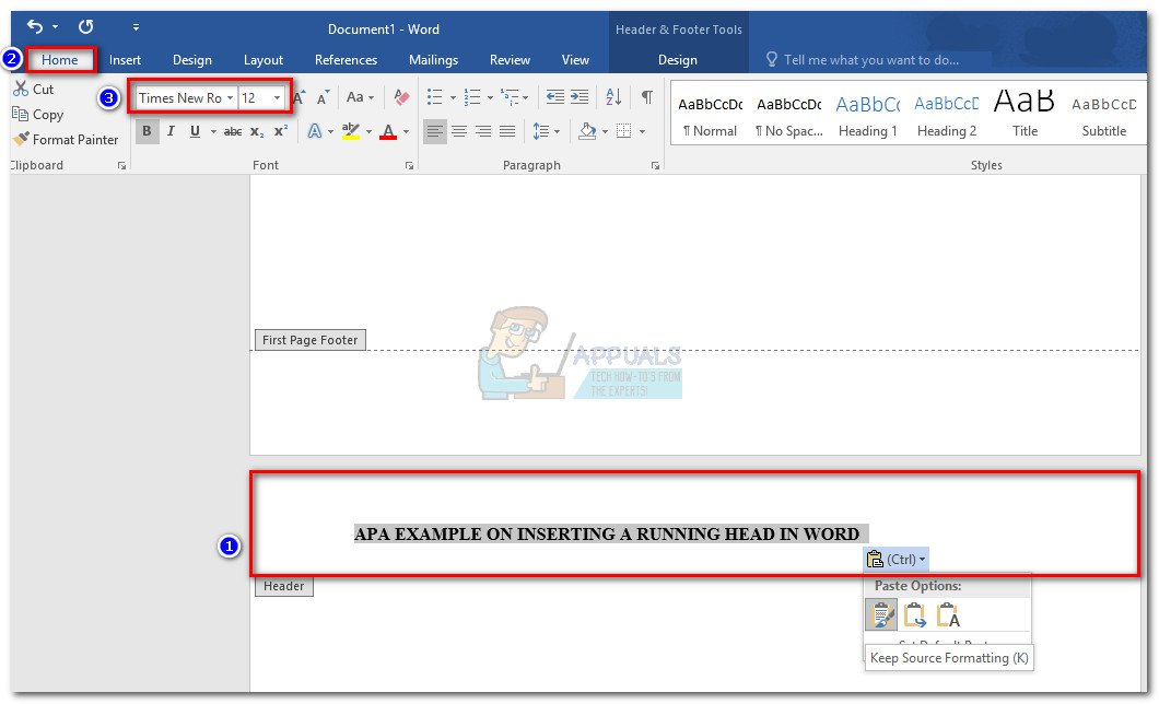 How To Insert A Running Head For Apa Style In Word Appuals