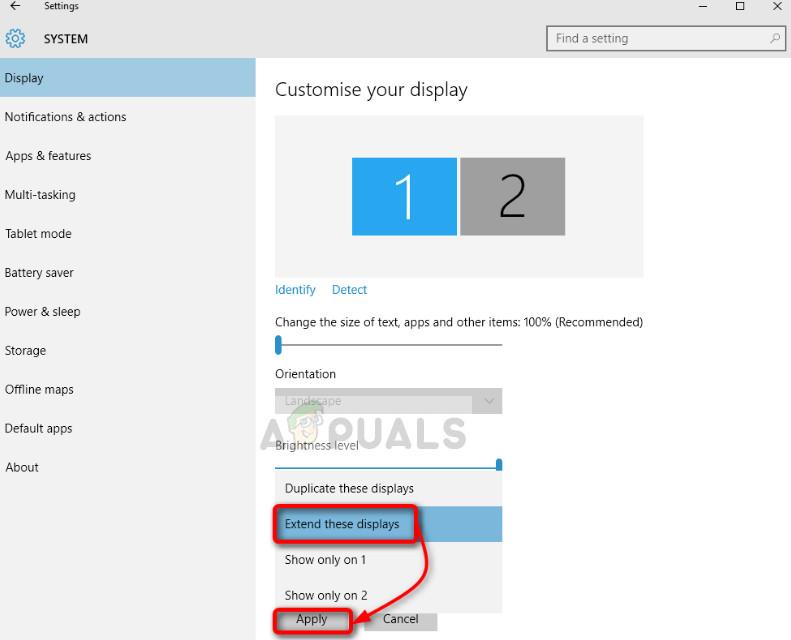Extending screen in Windows 10 settings