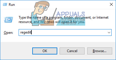 Run dialog: regedit then click Yes to open as Admin