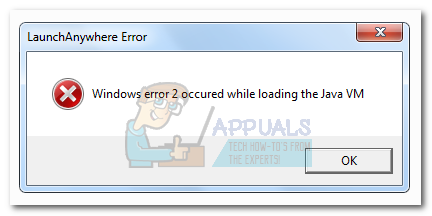 Fix: Windows Error 2 Occurred While Loading the Java VM