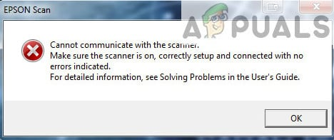 Fix: Epson Scan cannot communicate with the Scanner