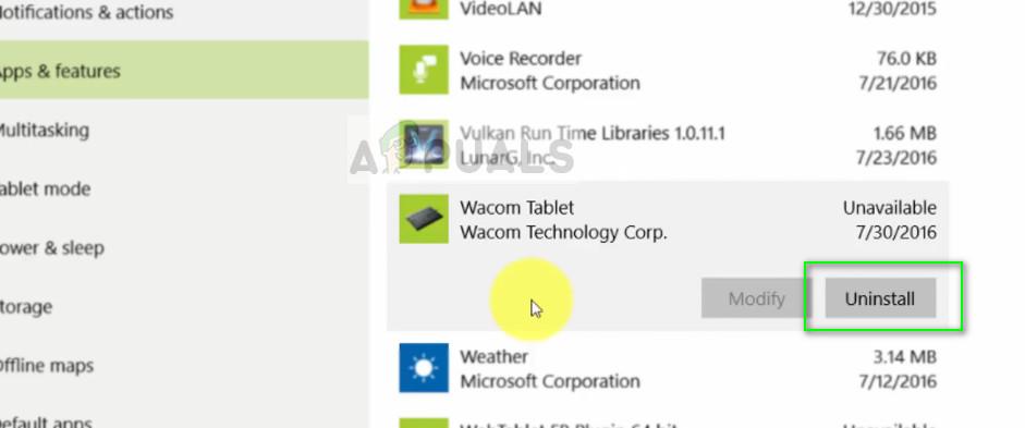Uninstalling Wacom Tablet software - Settings on Windows 10