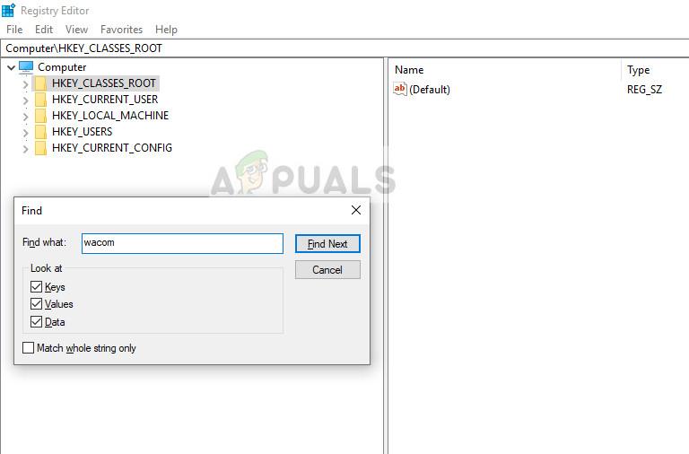 Searching and deleting Wacom registry keys