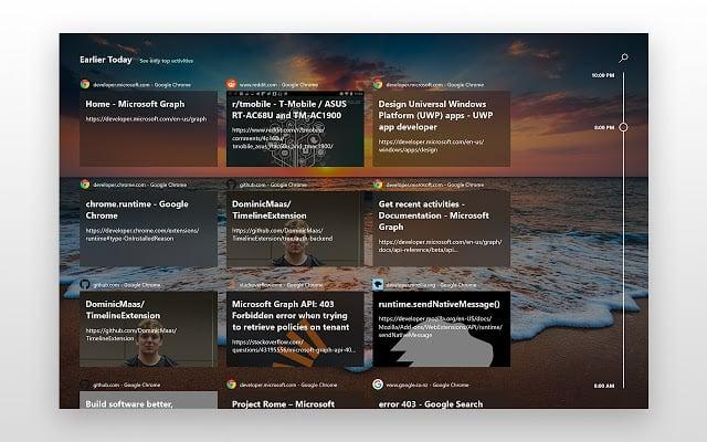 Windows 10 Timeline Support for Chrome